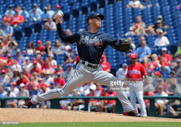 Starting pitcher Mike Foltynewicz of the Atlanta Braves throws a pitch in the third inning during a game against the Philadelphia Phillies at...