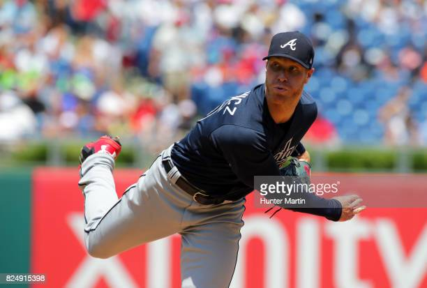 Starting pitcher Mike Foltynewicz of the Atlanta Braves throws a pitch in the first inning during a game against the Philadelphia Phillies at...