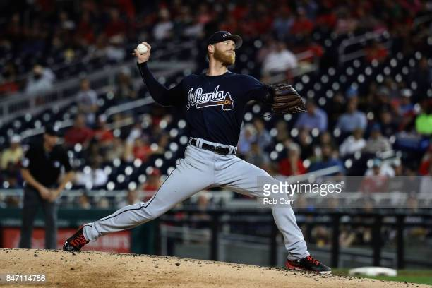Starting pitcher Mike Foltynewicz of the Atlanta Braves throws to a Washington Nationals batter in the second inning at Nationals Park on September...