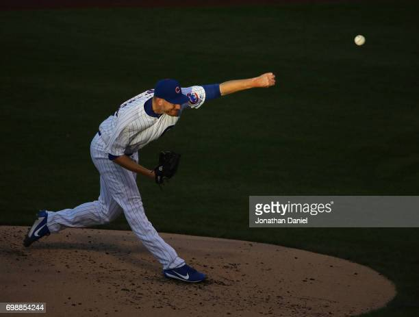 Starting pitcher Mike Montgomery of the Chicago Cubs delivers the ball against the San Diego Padres at Wrigley Field on June 20 2017 in Chicago...