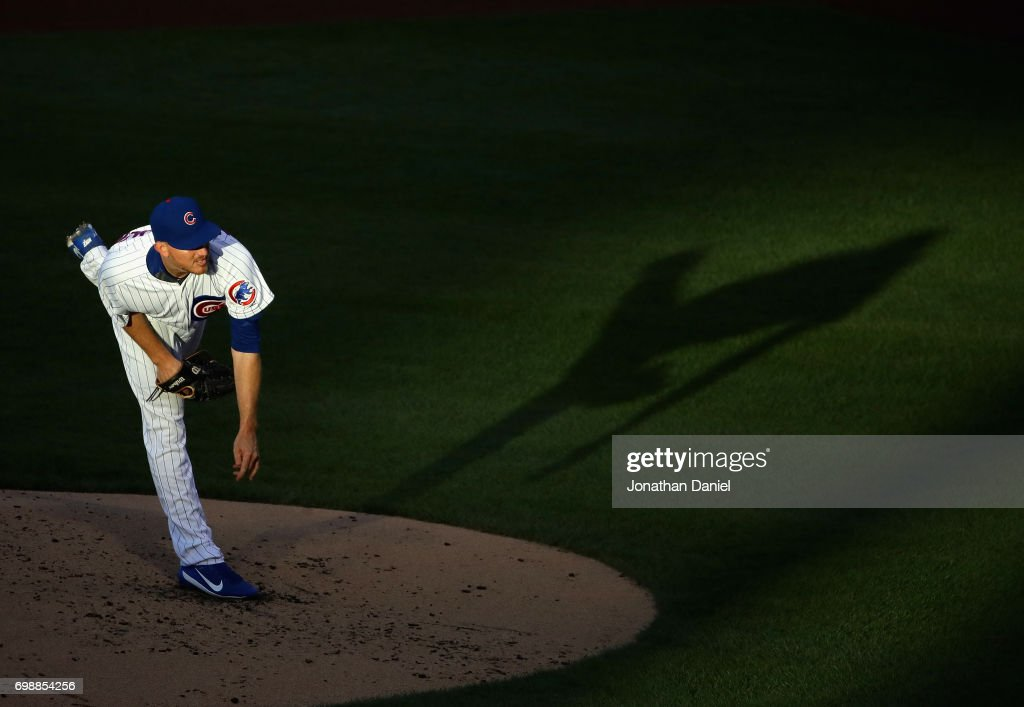Starting pitcher Mike Montgomery #38 of the Chicago Cubs delivers the ball against the San Diego Padres at Wrigley Field on June 20, 2017 in Chicago, Illinois.