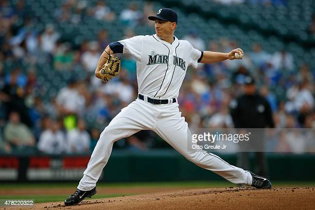 Starting pitcher Mike Montgomery of the Seattle Mariners pitches against the Kansas City Royals in the first inning at Safeco Field on June 23 2015...