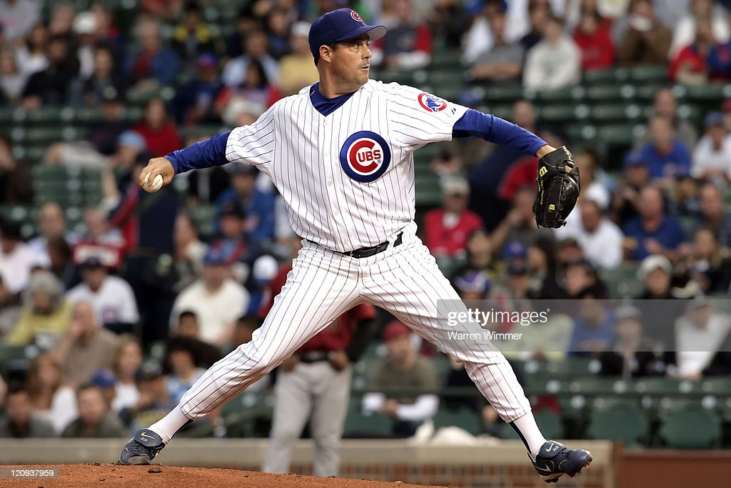 Starting pitcher of the Chicago Cubs, <a gi-track='captionPersonalityLinkClicked' href=/galleries/search?phrase=Greg+Maddux&family=editorial&specificpeople=202173 ng-click='$event.stopPropagation()'>Greg Maddux</a> works during the first inning of play at Wrigley Field in Chicago, Illinois on June 14, 2006. The Houston Astros over the Chicago Cubs by a score of 5 to 4.