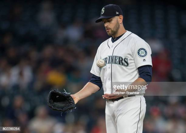 Starting pitcher of the Seattle Mariners reactsa after gibing up a solo home run to Maikel Franco of the Philadelphia Phillies during the seventh...
