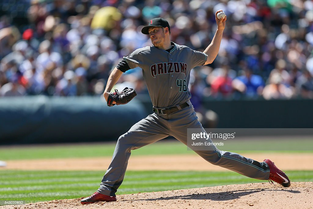 Starting pitcher <a gi-track='captionPersonalityLinkClicked' href=/galleries/search?phrase=Patrick+Corbin+-+Baseball+Player&family=editorial&specificpeople=10882576 ng-click='$event.stopPropagation()'>Patrick Corbin</a> #46 of the Arizona Diamondbacks delivers to home plate during the fourth inning against the Colorado Rockies at Coors Field on June 26, 2016 in Denver, Colorado.