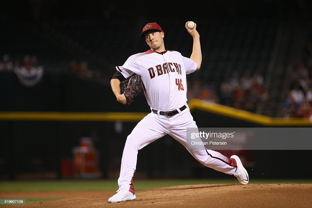 Starting pitcher Patrick Corbin of the Arizona Diamondbacks pitches against the Colorado Rockies during the MLB game at Chase Field on April 6 2016...