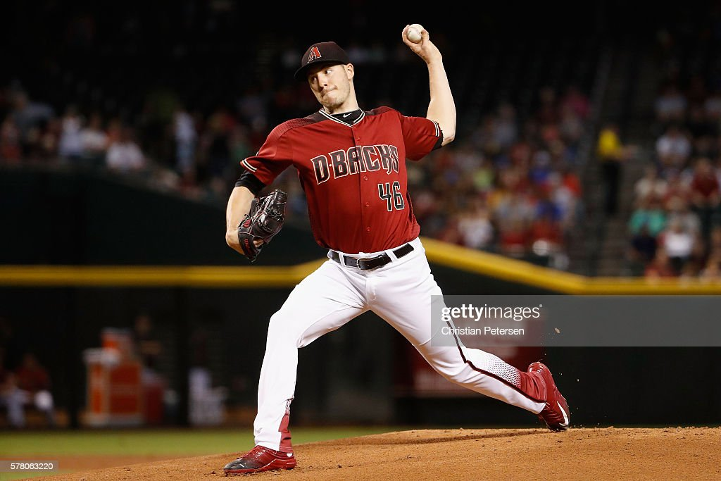 Starting pitcher Patrick Corbin of the Arizona Diamondbacks pitches against the Toronto Blue Jays during the first inning of the interleague MLB game...