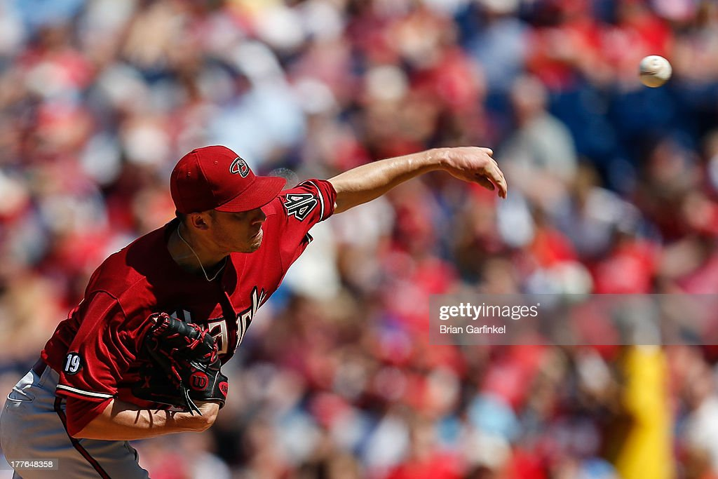 Starting pitcher Patrick Corbin #46 of the Arizona Diamondbacks throws a pitch during the game against the Philadelphia Phillies at Citizens Bank Park on August 25, 2013 in Philadelphia, Pennsylvania.