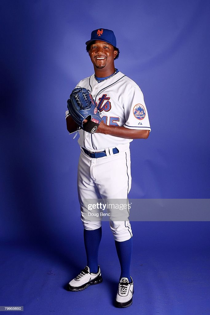 Starting pitcher <a gi-track='captionPersonalityLinkClicked' href=/galleries/search?phrase=Pedro+Martinez&family=editorial&specificpeople=171773 ng-click='$event.stopPropagation()'>Pedro Martinez</a> #45 of the New York Mets poses during Spring Training Photo Day at Tradition Field on February 23, 2008 in Port Saint Lucie, Florida.
