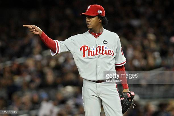Starting pitcher Pedro Martinez of the Philadelphia Phillies gestures against the New York Yankees in Game Six of the 2009 MLB World Series at Yankee...