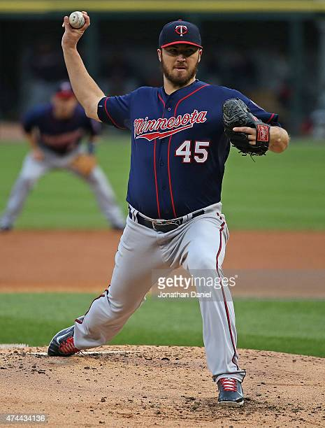 Starting pitcher Phil Hughes of the Minnesota Twins delivers the ball against the Chicago White Sox at US Cellular Field on May 22 2015 in Chicago...