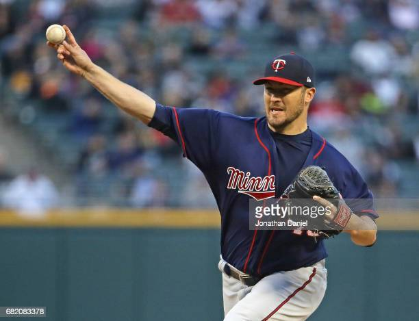 Starting pitcher Phil Hughes of the Minnesota Twins delivers the ball against the Chicago White Sox at Guaranteed Rate Field on May 11 2017 in...