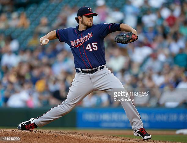 Starting pitcher Phil Hughes of the Minnesota Twins pitches against the Seattle Mariners at Safeco Field on July 8 2014 in Seattle Washington
