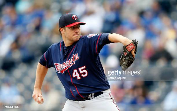 Starting pitcher Phil Hughes of the Minnesota Twins pitches during the game against the Kansas City Royals at Kauffman Stadium on April 30 2017 in...