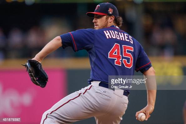 Starting pitcher Phil Hughes of the Minnesota Twins pitches in the third inning against the Seattle Mariners at Safeco Field on July 8 2014 in...