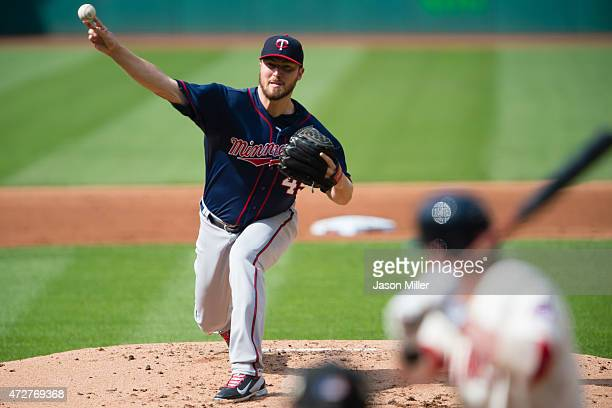 Starting pitcher Phil Hughes of the Minnesota Twins pitches to Jason Kipnis of the Cleveland Indians during the first inning at Progressive Field on...