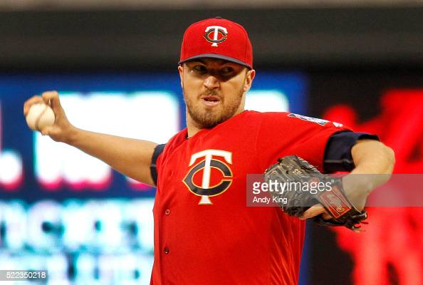 Starting pitcher Phil Hughes of the Minnesota Twins throws against the Milwaukee Brewers in the first inning of the game on April 18 2016 at Target...