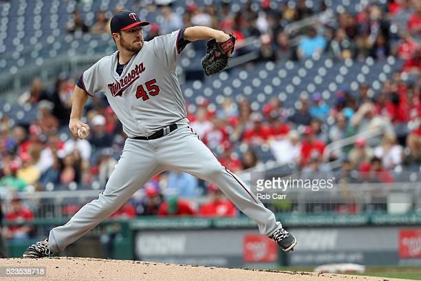 Starting pitcher Phil Hughes of the Minnesota Twins throws to a Washington Nationals batter in the first inning at Nationals Park on April 23 2016 in...