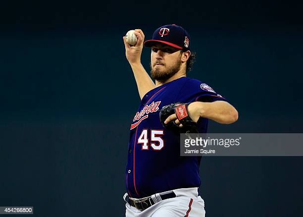Starting pitcher Phil Hughes of the Minnesota Twins warms up prior to the game against the Kansas City Royals at Kauffman Stadium on August 27 2014...