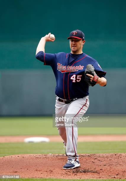 Starting pitcher Phil Hughes of the Minnesota Twins warms up prior to the game against the Kansas City Royals at Kauffman Stadium on April 30 2017 in...