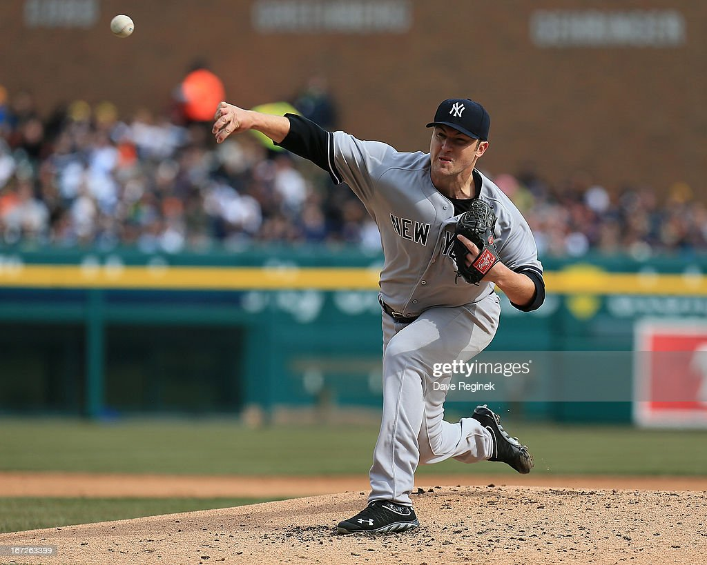 Starting pitcher Phil Hughes #65 of the New York Yankees throws the baseball against the Detroit Tigers at Comerica Park on April 6, 2013 in Detroit, Michigan. The Tigers won 8-4