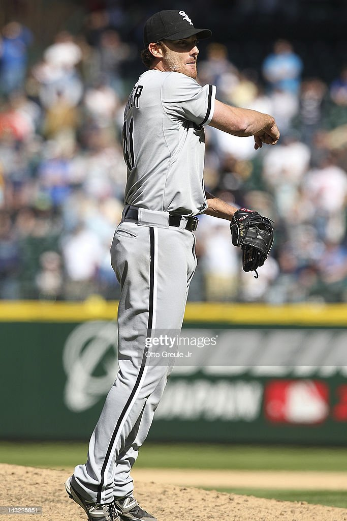 Starting pitcher <a gi-track='captionPersonalityLinkClicked' href=/galleries/search?phrase=Philip+Humber&family=editorial&specificpeople=836505 ng-click='$event.stopPropagation()'>Philip Humber</a> #41 of the Chicago White Sox reacts as he gets the final out of a perect game against the Seattle Mariners at Safeco Field on April 21, 2012 in Seattle, Washington. This was the 21st perfect game in Major League Baseball history.