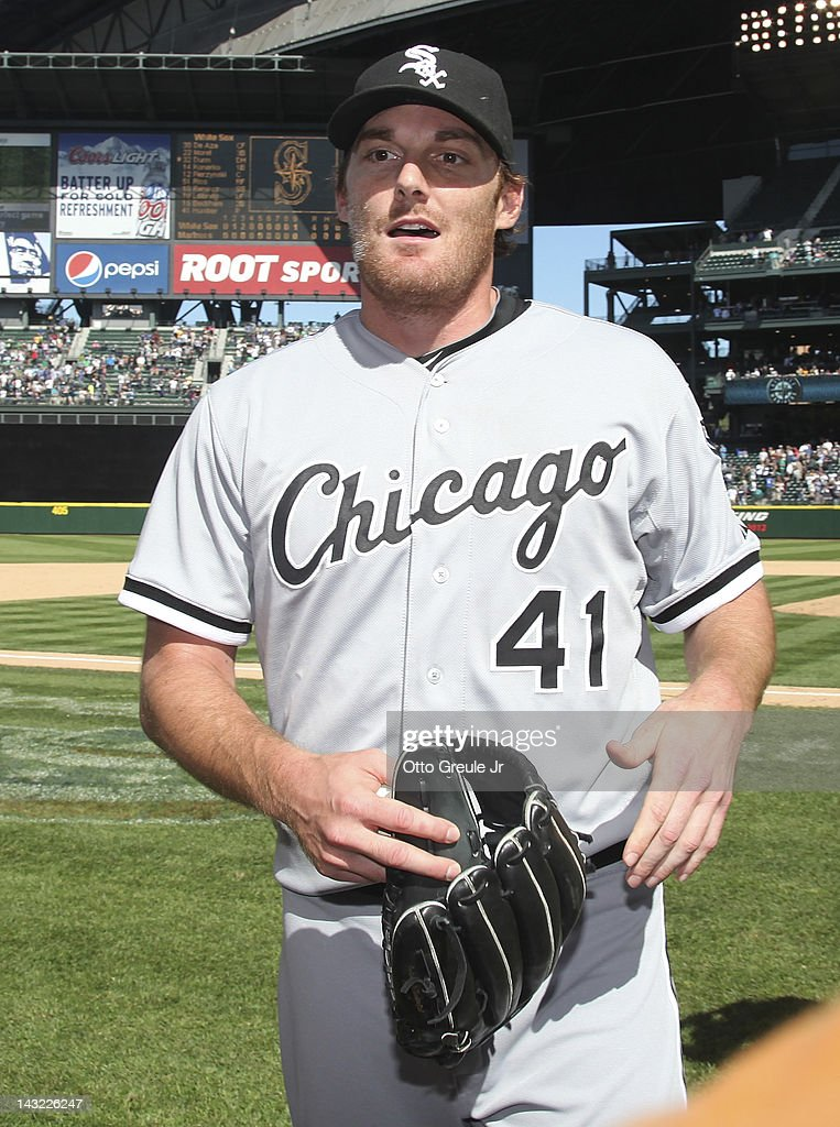 Starting pitcher <a gi-track='captionPersonalityLinkClicked' href=/galleries/search?phrase=Philip+Humber&family=editorial&specificpeople=836505 ng-click='$event.stopPropagation()'>Philip Humber</a> #41 of the Chicago White Sox smiles after pitching a perfect game against the Seattle Mariners at Safeco Field on April 21, 2012 in Seattle, Washington. This was the 21st perfect game in Major League Baseball history.