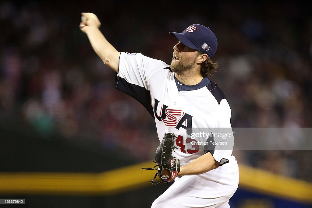 Starting pitcher R.A. Dickey #34 of the United States throws a pitch against Mexico during the World Baseball Classic First Round Group D game at Chase Field on March 8, 2013 in Phoenix, Arizona.