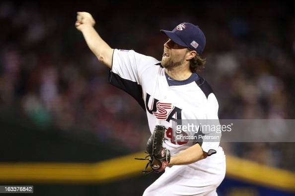 Starting pitcher RA Dickey of the United States throws a pitch against Mexico during the World Baseball Classic First Round Group D game at Chase...