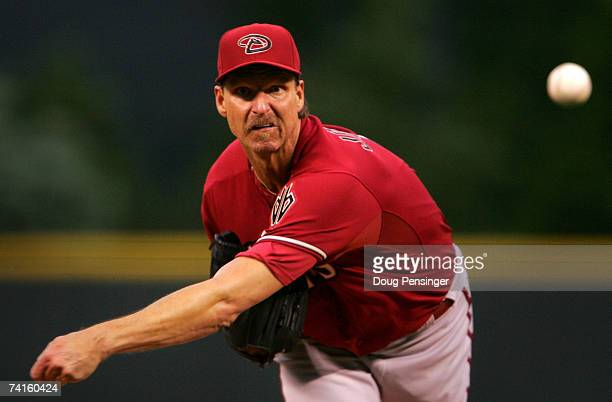 Starting pitcher Randy Johnson of the Arizona Diamondbacks delivers against the Colorado Rockies on May 15 2007 at Coors Field in Denver Colorado