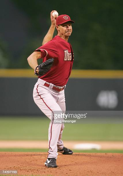 Starting pitcher Randy Johnson of the Arizona Diamondbacks delivers the pitch against the Colorado Rockies on May 15 2007 at Coors Field in Denver...