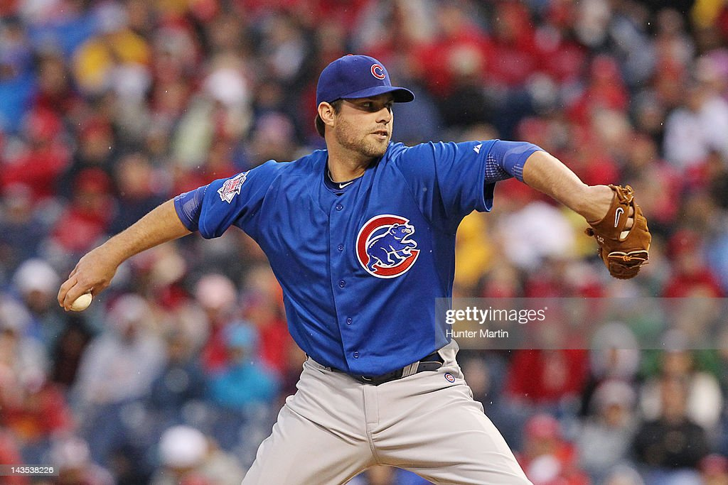 Starting pitcher <a gi-track='captionPersonalityLinkClicked' href=/galleries/search?phrase=Randy+Wells&family=editorial&specificpeople=796575 ng-click='$event.stopPropagation()'>Randy Wells</a> #36 of the Chicago Cubs throws a pitch during a game against the Philadelphia Phillies at Citizens Bank Park on April 28, 2012 in Philadelphia, Pennsylvania.