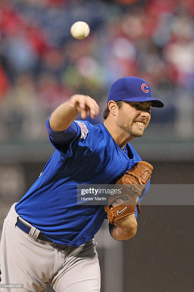 Starting pitcher <a gi-track='captionPersonalityLinkClicked' href=/galleries/search?phrase=Randy+Wells&family=editorial&specificpeople=796575 ng-click='$event.stopPropagation()'>Randy Wells</a> #36 of the Chicago Cubs throws a pitch during a game against the Philadelphia Phillies at Citizens Bank Park on April 28, 2012 in Philadelphia, Pennsylvania. The Phillies won 5-2.