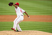 Starting pitcher Reynaldo Lopez of the Washington Nationals throws a pitch to a Los Angeles Dodgers batter in the second inning during a MLB baseball...