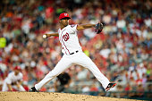 Starting pitcher Reynaldo Lopez of the Washington Nationals throws a pitch to a Los Angeles Dodgers batter in the third inning during a MLB baseball...