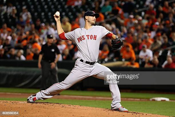 Starting pitcher Rick Porcello of the Boston Red Sox throws to a Baltimore Orioles batter in the first inning at Oriole Park at Camden Yards on...