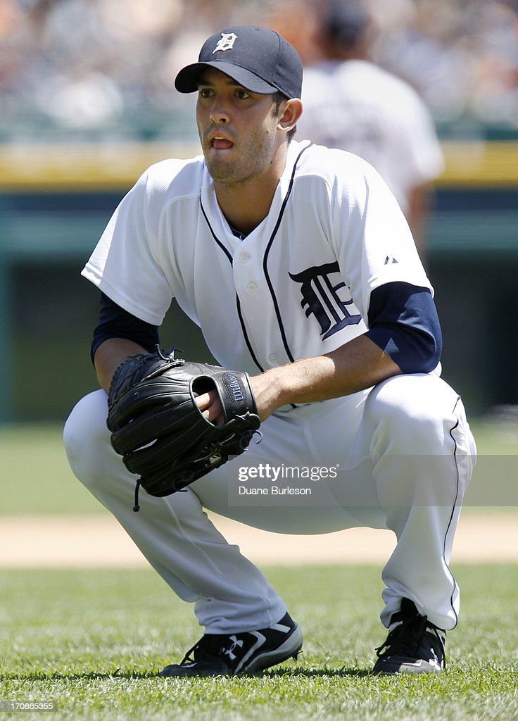 Starting pitcher <a gi-track='captionPersonalityLinkClicked' href=/galleries/search?phrase=Rick+Porcello&family=editorial&specificpeople=4495644 ng-click='$event.stopPropagation()'>Rick Porcello</a> #21 of the Detroit Tigers reacts after giving up a three-run home run to Taylor Teagarden #31 of the Baltimore Orioles in the fourth inning at Comerica Park on June 19, 2013 in Detroit, Michigan.