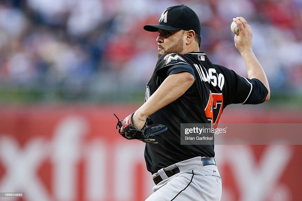 Starting pitcher <a gi-track='captionPersonalityLinkClicked' href=/galleries/search?phrase=Ricky+Nolasco&family=editorial&specificpeople=600111 ng-click='$event.stopPropagation()'>Ricky Nolasco</a> #47 of the Miami Marlins throws a pitch during the game against the Philadelphia Phillies at Citizens Bank Park on June 4, 2013 in Philadelphia, Pennsylvania.