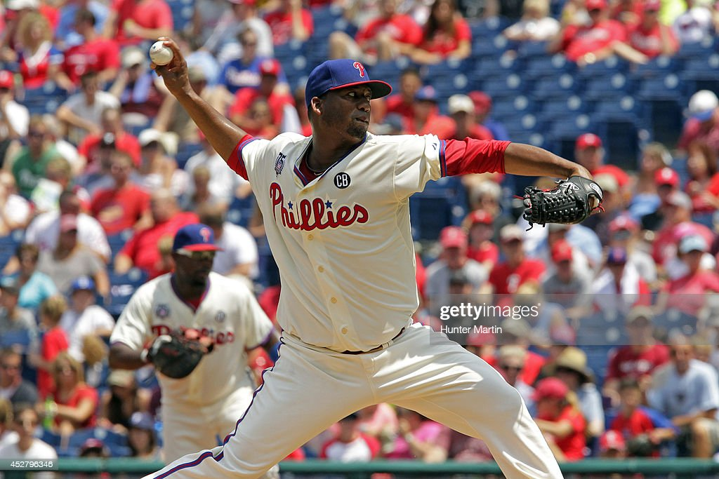 Starting pitcher Roberto Hernandez #27 of the Philadelphia Phillies throws a pitch in the first inning during a game against the Arizona Diamondbacks at Citizens Bank Park on July 27, 2014 in Philadelphia, Pennsylvania.