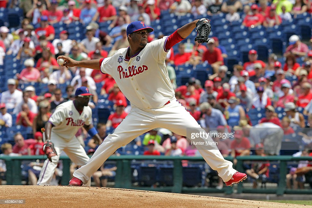 Starting pitcher Roberto Hernandez #27 of the Philadelphia Phillies throws a pitch in the first inning during a game against the Arizona Diamondbacks at Citizens Bank Park on July 27, 2014 in Philadelphia, Pennsylvania. The Phillies won 4-2.