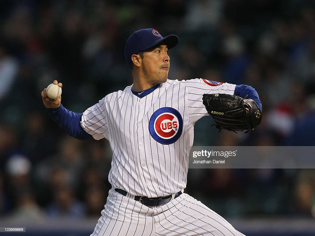 Starting pitcher <a gi-track='captionPersonalityLinkClicked' href=/galleries/search?phrase=Rodrigo+Lopez&family=editorial&specificpeople=216384 ng-click='$event.stopPropagation()'>Rodrigo Lopez</a> #50 of the Chicago Cubs delivers the ball against the Cincinnati Reds at Wrigley Field on September 6, 2011 in Chicago, Illinois.