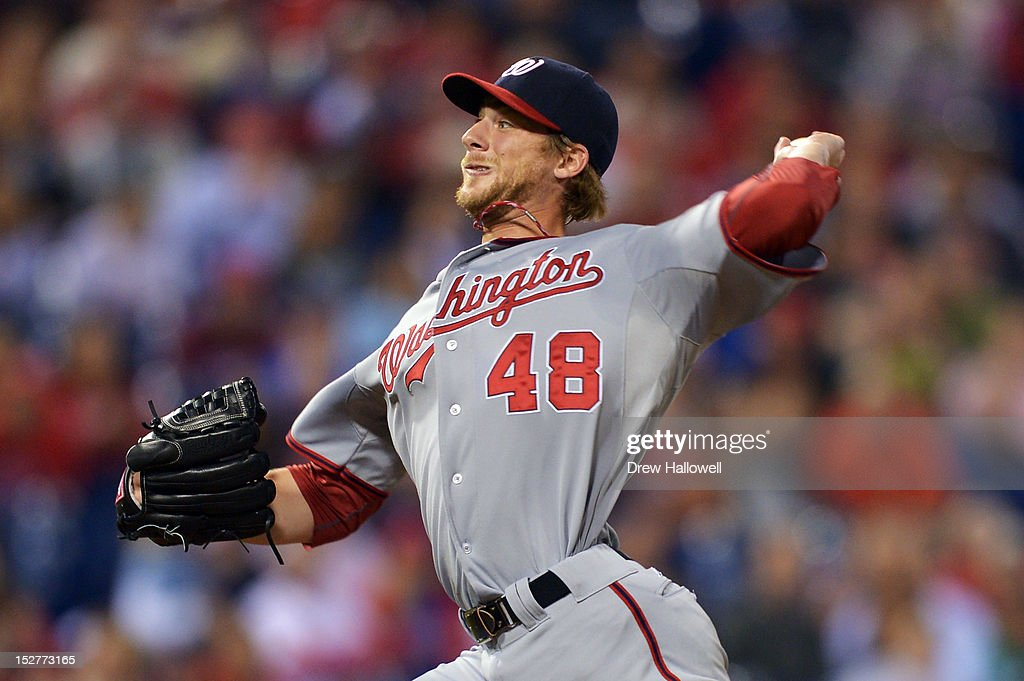 Starting pitcher <a gi-track='captionPersonalityLinkClicked' href=/galleries/search?phrase=Ross+Detwiler&family=editorial&specificpeople=4329174 ng-click='$event.stopPropagation()'>Ross Detwiler</a> #48 of the Washington Nationals delivers a pitch during the game against the Philadelphia Phillies at Citizens Bank Park on September 25, 2012 in Philadelphia, Pennsylvania.