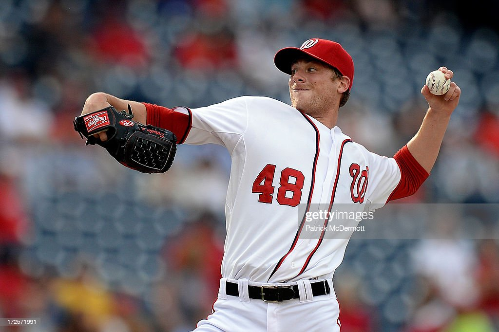 Starting pitcher <a gi-track='captionPersonalityLinkClicked' href=/galleries/search?phrase=Ross+Detwiler&family=editorial&specificpeople=4329174 ng-click='$event.stopPropagation()'>Ross Detwiler</a> #48 of the Washington Nationals throws a pitch in the first inning during a game against the Milwaukee Brewers at Nationals Park on July 3, 2013 in Washington, DC.