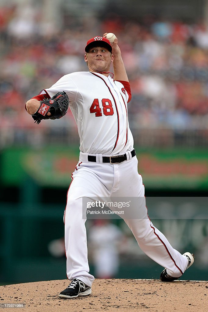 Starting pitcher <a gi-track='captionPersonalityLinkClicked' href=/galleries/search?phrase=Ross+Detwiler&family=editorial&specificpeople=4329174 ng-click='$event.stopPropagation()'>Ross Detwiler</a> #48 of the Washington Nationals throws a pitch in the second inning during a game against the Milwaukee Brewers at Nationals Park on July 3, 2013 in Washington, DC.
