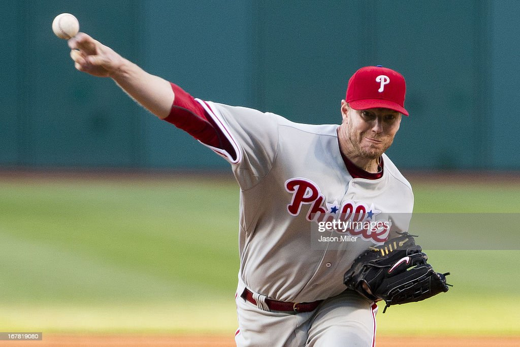 Starting pitcher <a gi-track='captionPersonalityLinkClicked' href=/galleries/search?phrase=Roy+Halladay&family=editorial&specificpeople=208782 ng-click='$event.stopPropagation()'>Roy Halladay</a> #34 of the Philadelphia Phillies pitches during the first inning against the Cleveland Indians at Progressive Field on April 30, 2013 in Cleveland, Ohio.