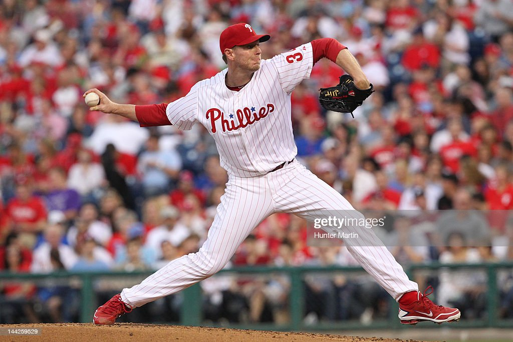 Starting pitcher <a gi-track='captionPersonalityLinkClicked' href=/galleries/search?phrase=Roy+Halladay&family=editorial&specificpeople=208782 ng-click='$event.stopPropagation()'>Roy Halladay</a> #34 of the Philadelphia Phillies throws a pitch during a game against the San Diego Padres at Citizens Bank Park on May 12, 2012 in Philadelphia, Pennsylvania.
