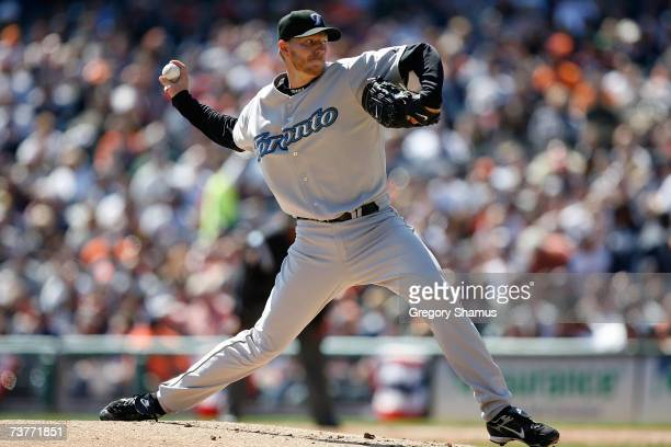 Starting pitcher Roy Halladay of the Toronto Blue Jays throws a pitch against the Detroit Tigers during the Home Opener for the Detroit Tigers at...