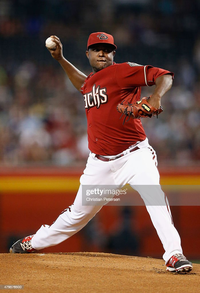 Starting pitcher Rubby De La Rosa of the Arizona Diamondbacks pitches against the Colorado Rockies during the first inning of the MLB game at Chase...