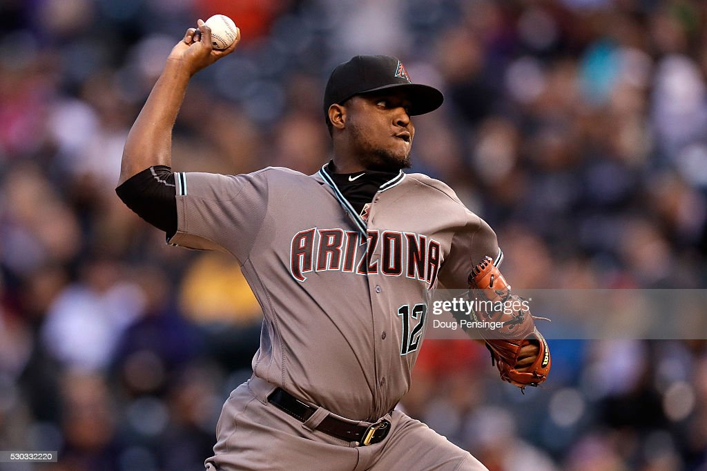 Starting pitcher Rubby De La Rosa of the Arizona Diamondbacks delivers against the Colorado Rockies as he earned the win at Coors Field on May 10...