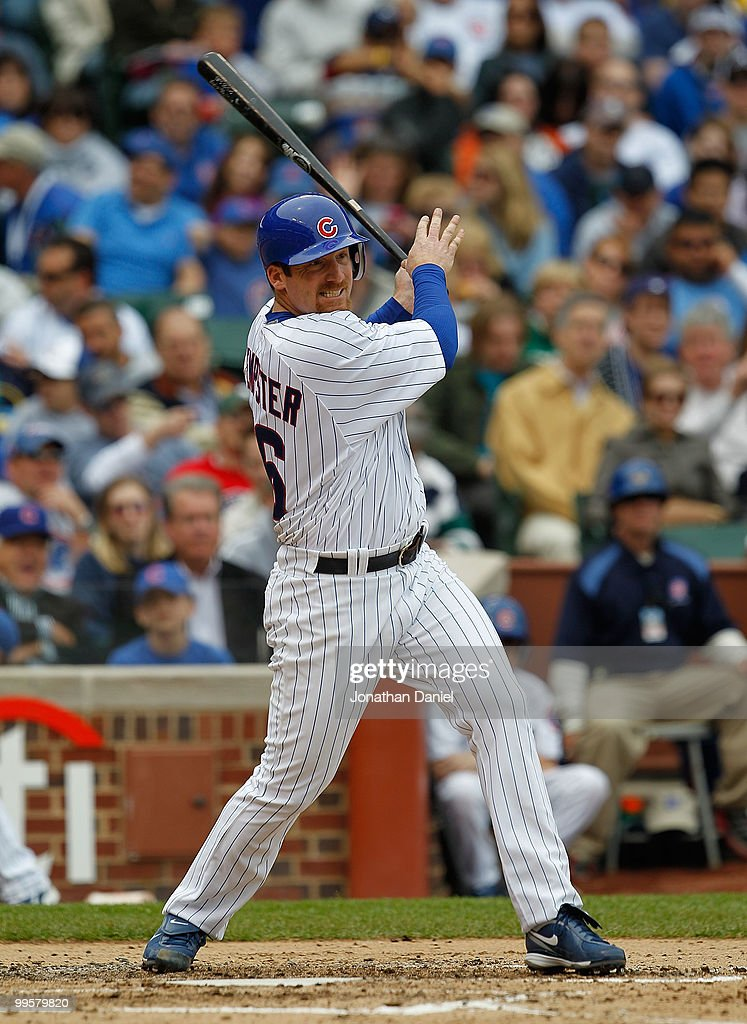 Starting pitcher <a gi-track='captionPersonalityLinkClicked' href=/galleries/search?phrase=Ryan+Dempster&family=editorial&specificpeople=211606 ng-click='$event.stopPropagation()'>Ryan Dempster</a> #46 of the Chicago Cubs hits a double in the 3rd inning against the Pittsburgh Pirates at Wrigley Field on May 15, 2010 in Chicago, Illinois.